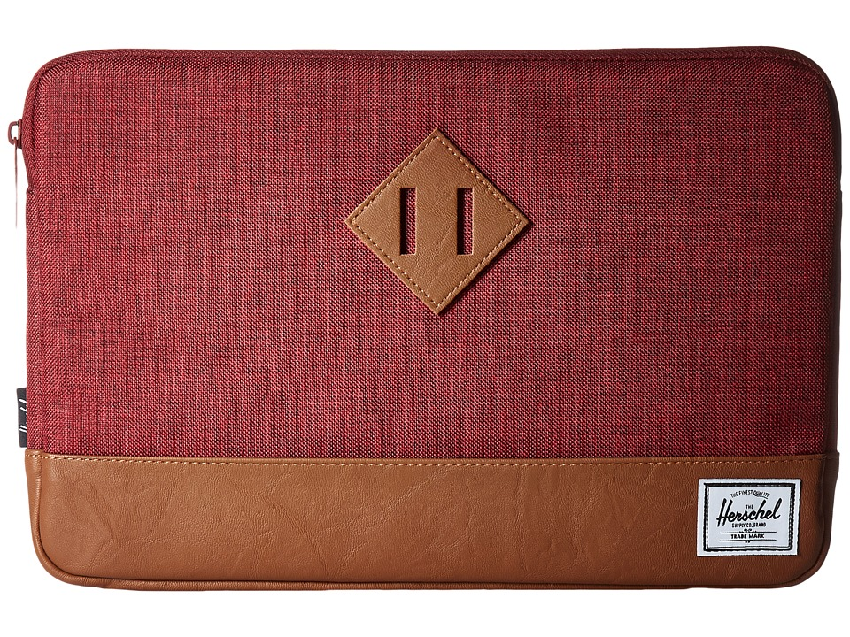 Herschel Supply Co. - Heritage Sleeve for 12inch MacBook (Winetasting Crosshatch/Tan Synthetic Leather) Computer Bags