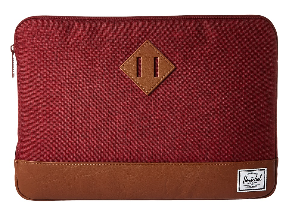 Herschel Supply Co. - Heritage Sleeve for 13inch Macbook (Winetasting Crosshatch/Tan Synthetic Leather) Computer Bags