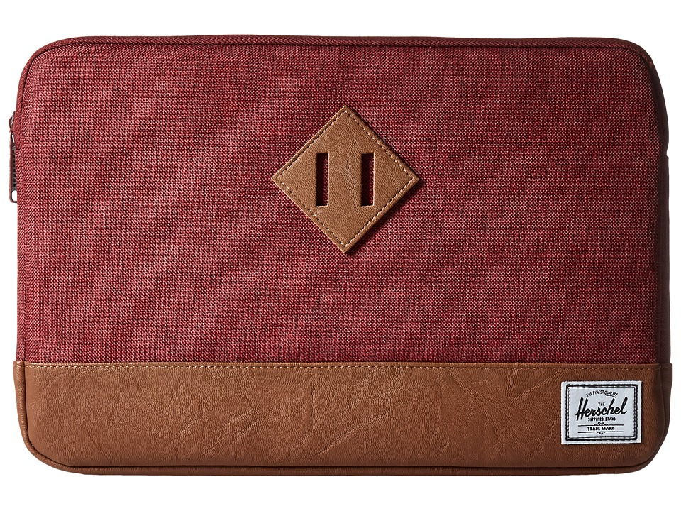 Herschel Supply Co. - Heritage Sleeve for 11inch Macbook (Winetasting Crosshatch/Tan Synthetic Leather) Computer Bags