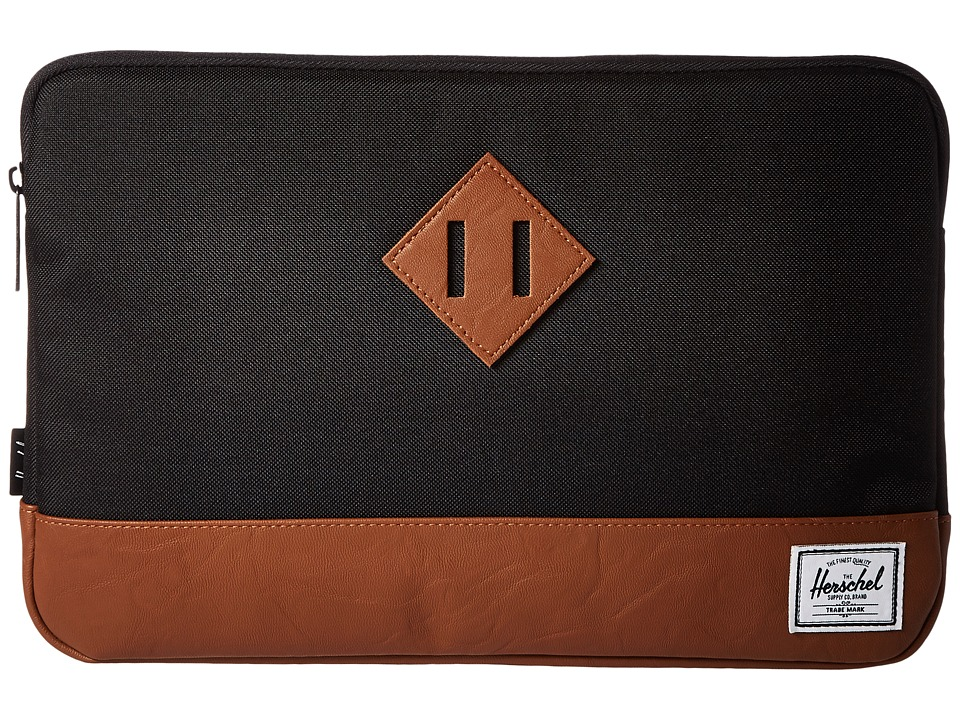 Herschel Supply Co. - Heritage Sleeve for 12inch MacBook (Black/Tan Synthetic Leather) Computer Bags