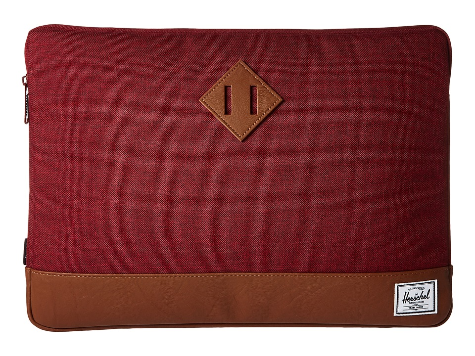 Herschel Supply Co. - Heritage Sleeve for 15inch Macbook (Winetasting Crosshatch/Tan Synthetic Leather) Computer Bags