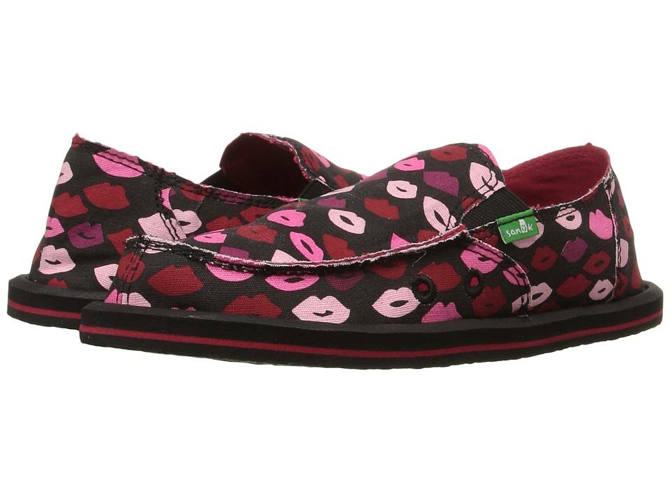 Sanuk Kids Donna Lil Icon (Little Kid/Big Kid) (Black Multi Kiss) Girls Shoes