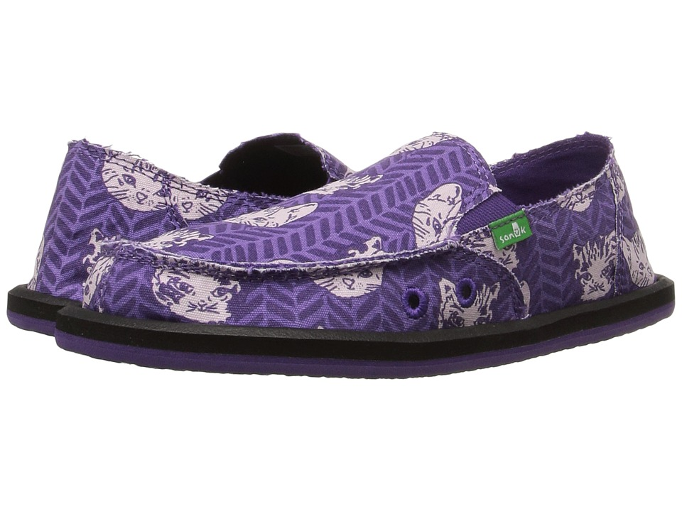 Sanuk Kids Donna Lil Icon (Little Kid/Big Kid) (Purple Right Meow) Girls Shoes