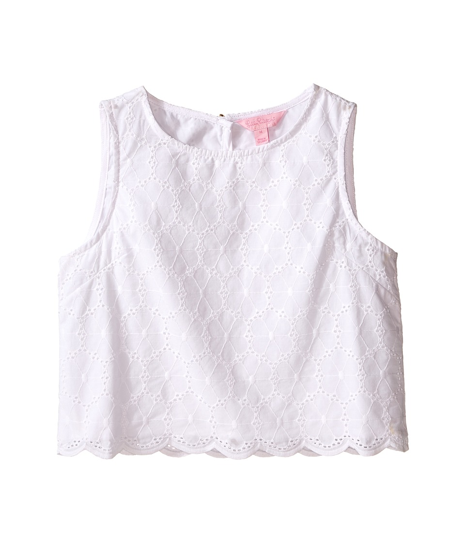 Lilly Pulitzer Kids Mini Lux Top Toddler/Little Kids/Big Kids Resort White Bubbly Floral Girls Sleeveless