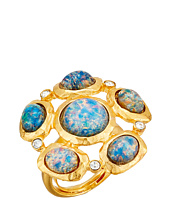 Kenneth Jay Lane - Satin Gold/Crystal/Blue Opal Cluster Ring