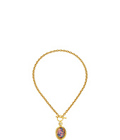Kenneth Jay Lane - Satin Gold/Crystal/Pink Opal Oval Toggle Necklace