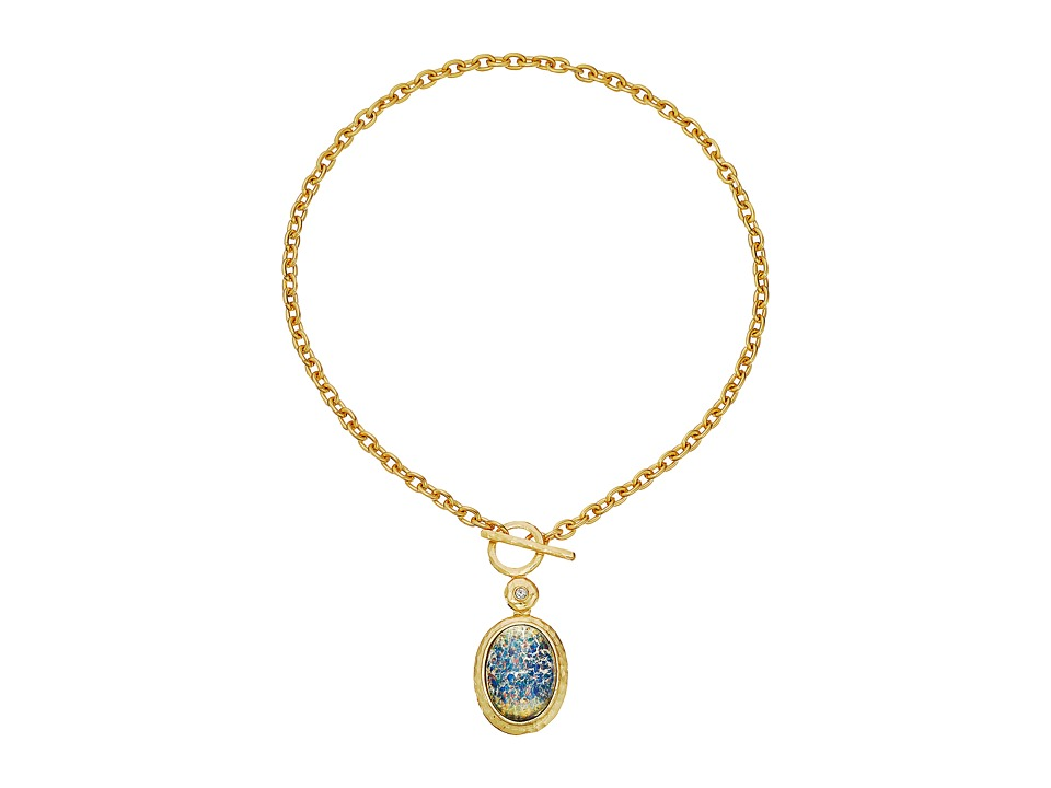 Kenneth Jay Lane - Satin Gold/Crystal/Blue Opal Oval Toggle Necklace (Blue Opal) Necklace