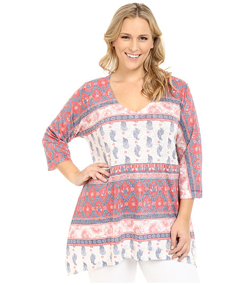 Nally & Millie - Plus Size Border Tunic (Red Multi) Women's Blouse