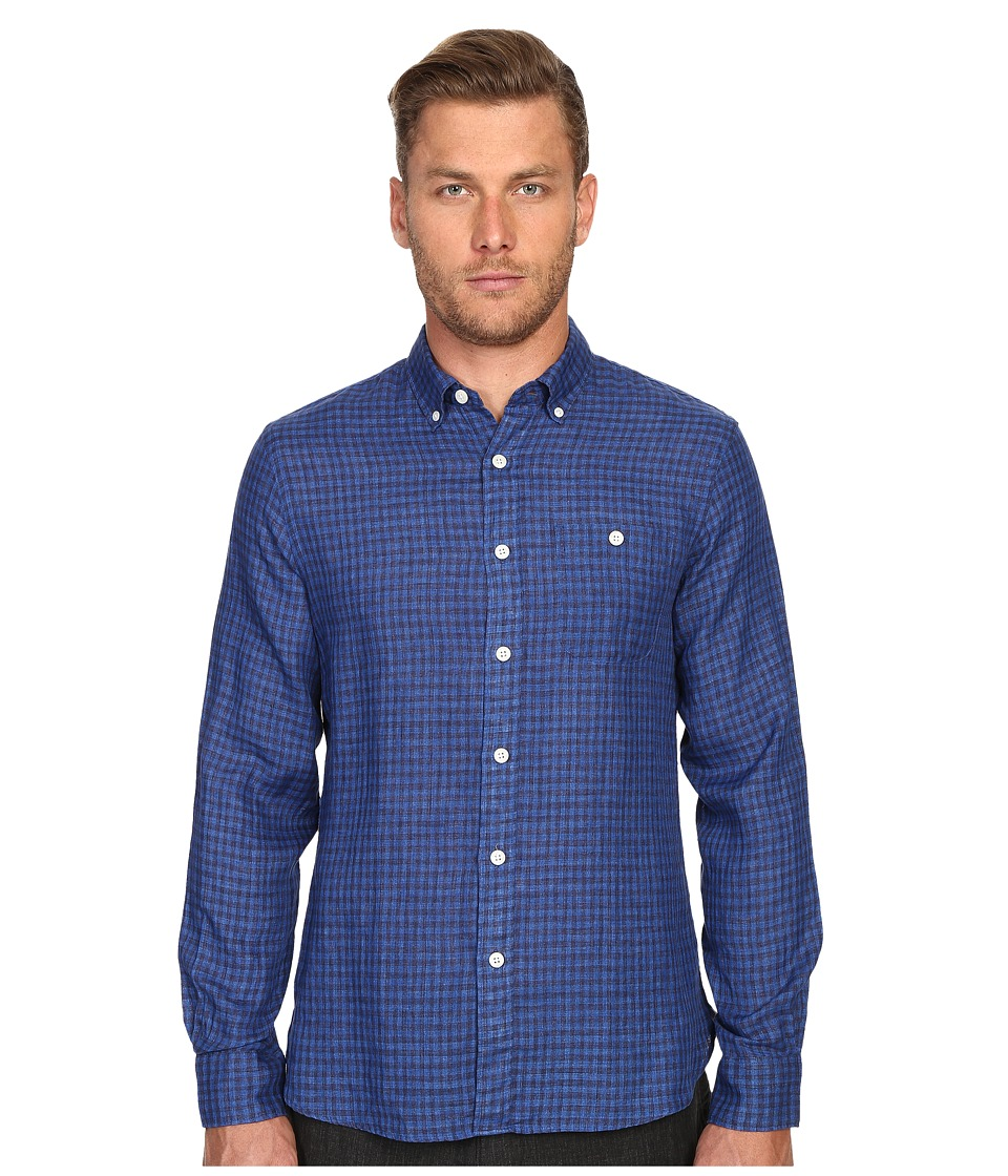 Todd Snyder Balanced Check Cotton Button Down Blue Mens Clothing
