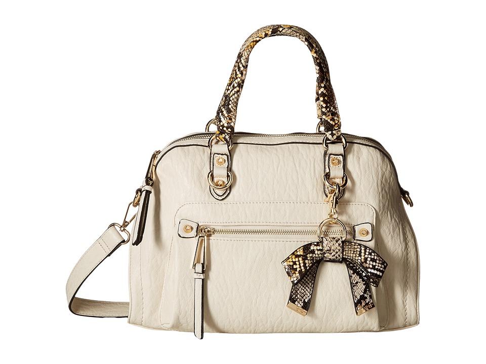 Jessica Simpson Tatiana Satchel Putty/Brown Mustard Python Satchel Handbags