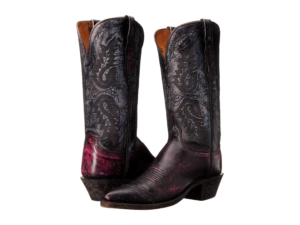 Lucchese - N4536 4/4 (Black Cherry/Anthracite) Womens Boots