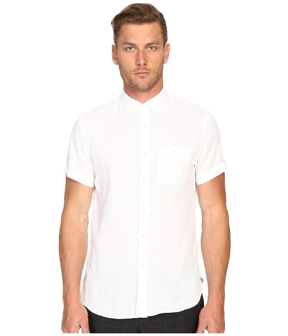 Todd Snyder Short Sleeve Classic Linen Plainweave Button Up White Mens Short Sleeve Button Up