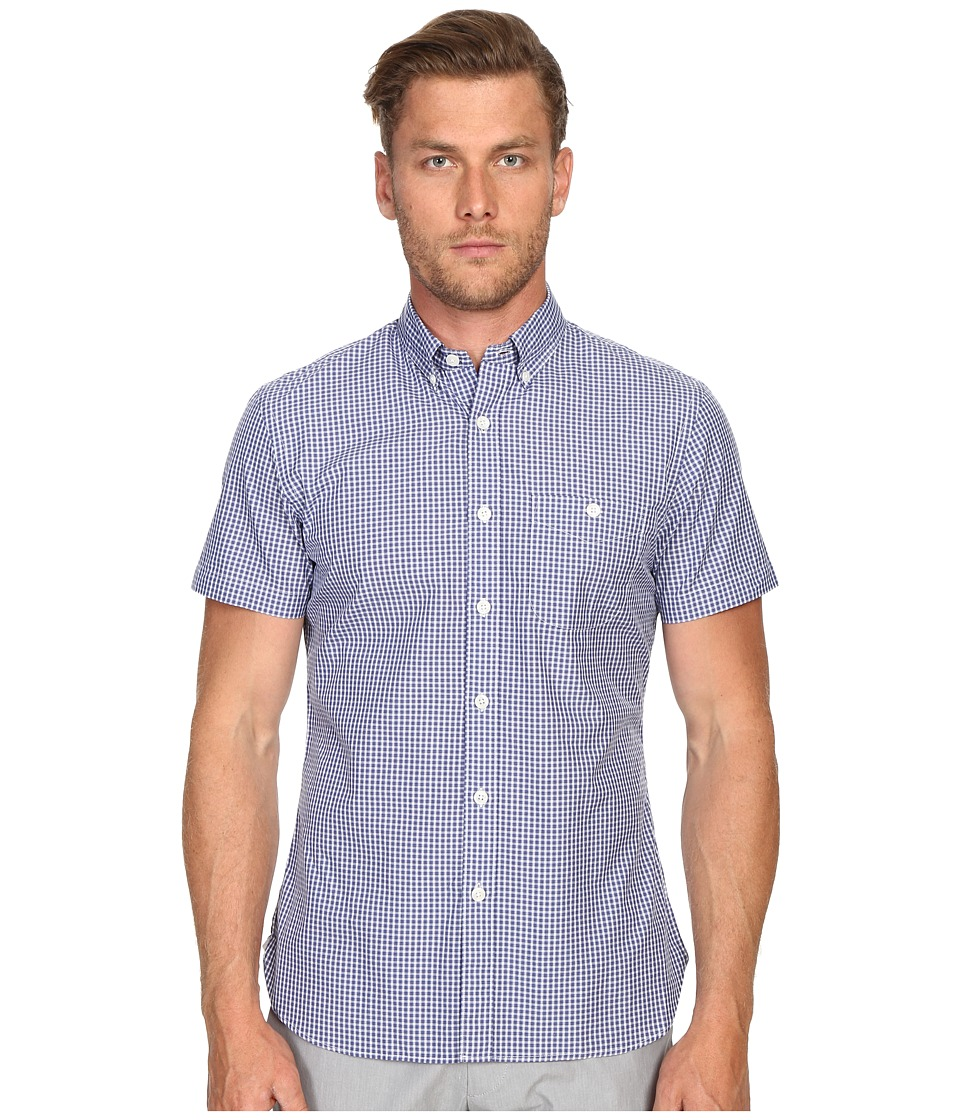 Todd Snyder Short Sleeve Mini Check Button Up Blue Mens Short Sleeve Button Up