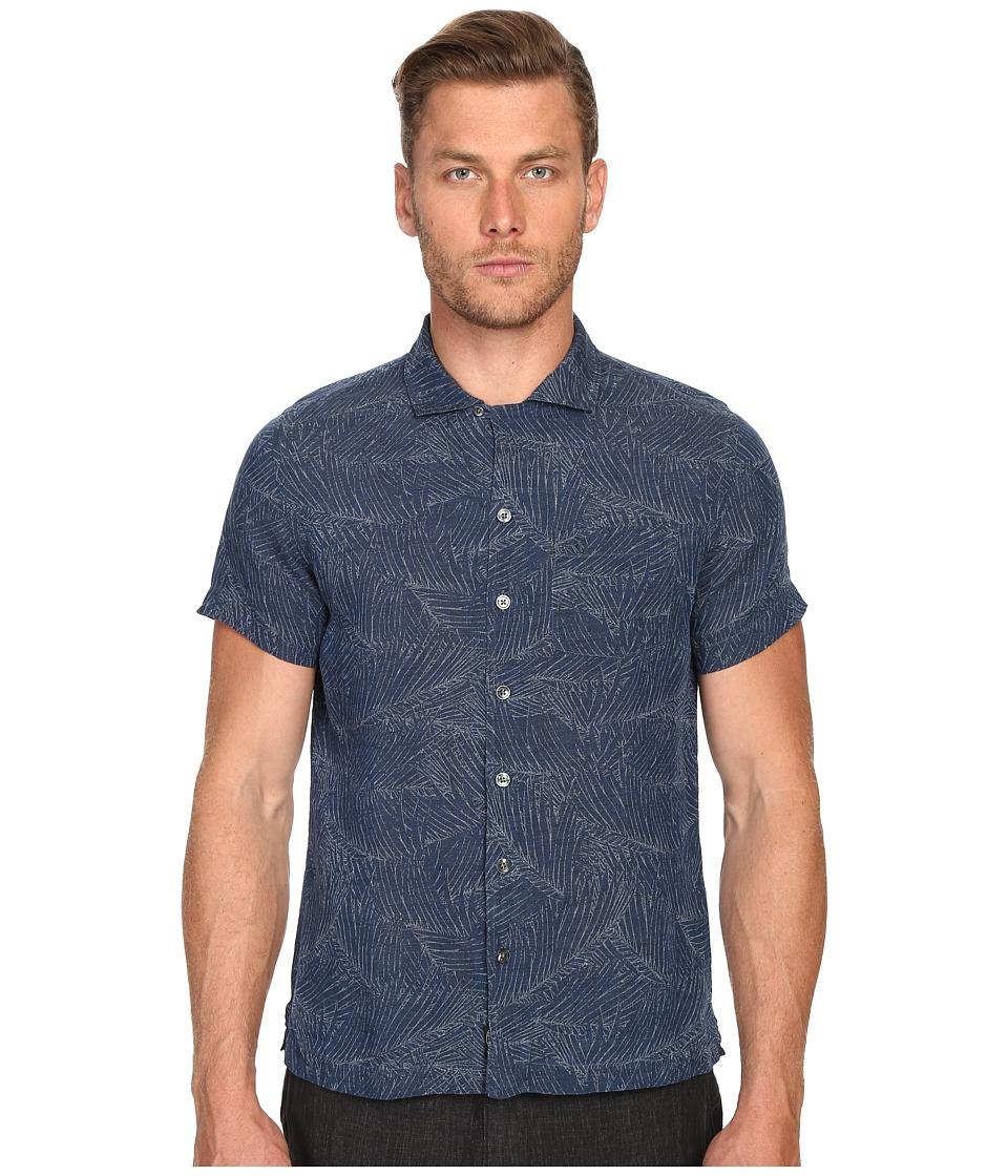 Todd Snyder Short Sleeve Convertible Collar Button Up Indigo Mens Short Sleeve Button Up