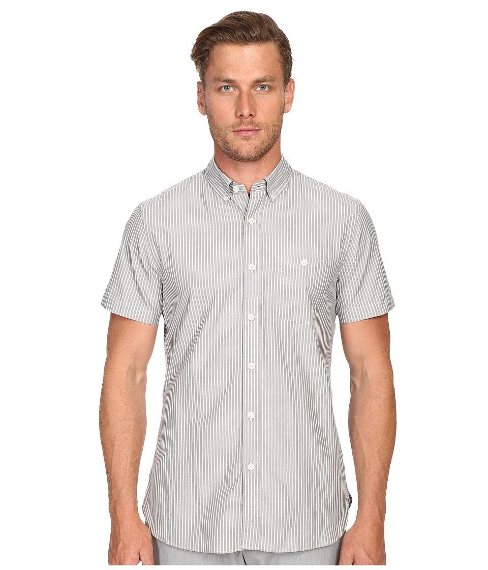 Todd Snyder Short Sleeve Stripe Button Up Grey Mens Short Sleeve Button Up