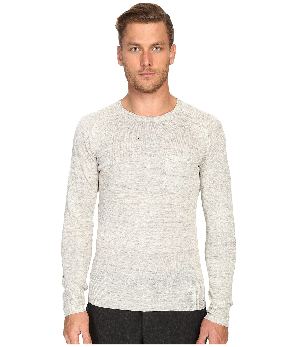 Todd Snyder Saddle Pocket Crew Sweater Light Grey Mens Sweater