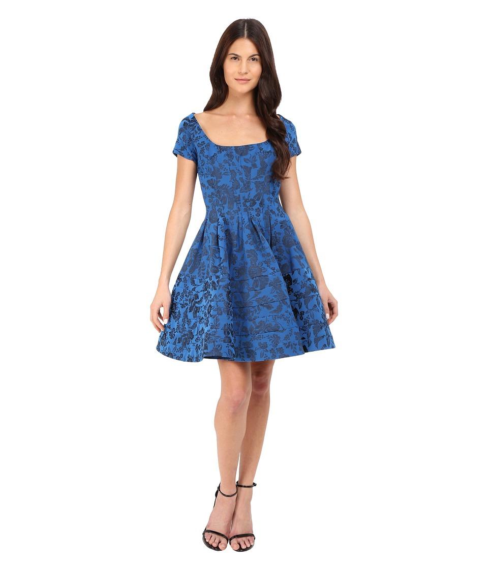 Zac Posen Cap Sleeve Fit Flare Dress Royal Blue Womens Dress