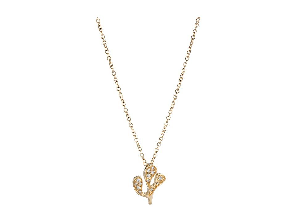 Miseno Foglia Di Mare Diamond Pendant Necklace Yellow Gold Necklace