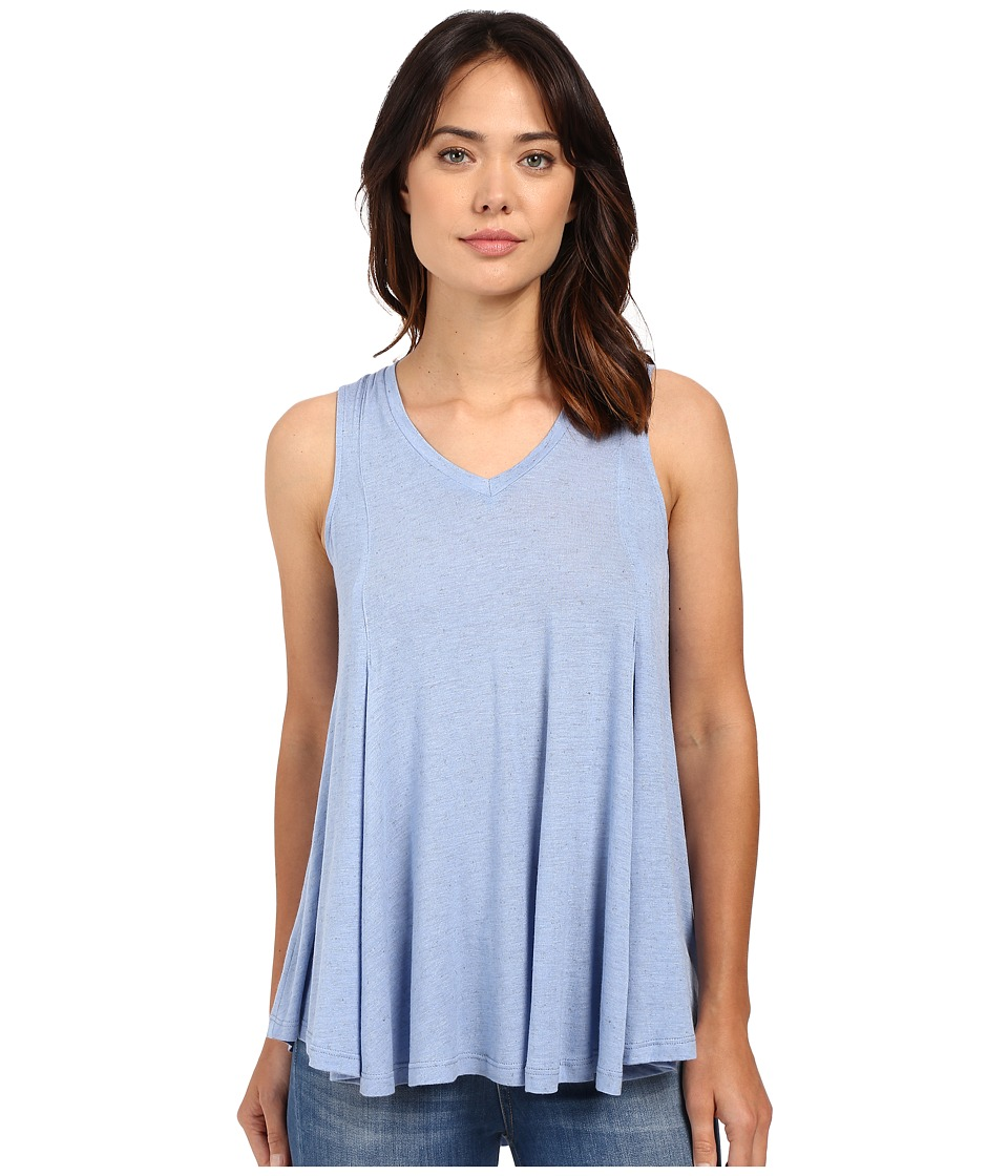 Bobeau Addilyn Voluminous V Neck Knit Tank Top Blue Womens Sleeveless