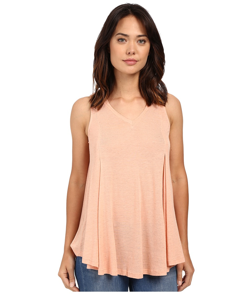 Bobeau Addilyn Voluminous V Neck Knit Tank Top Peach Womens Sleeveless