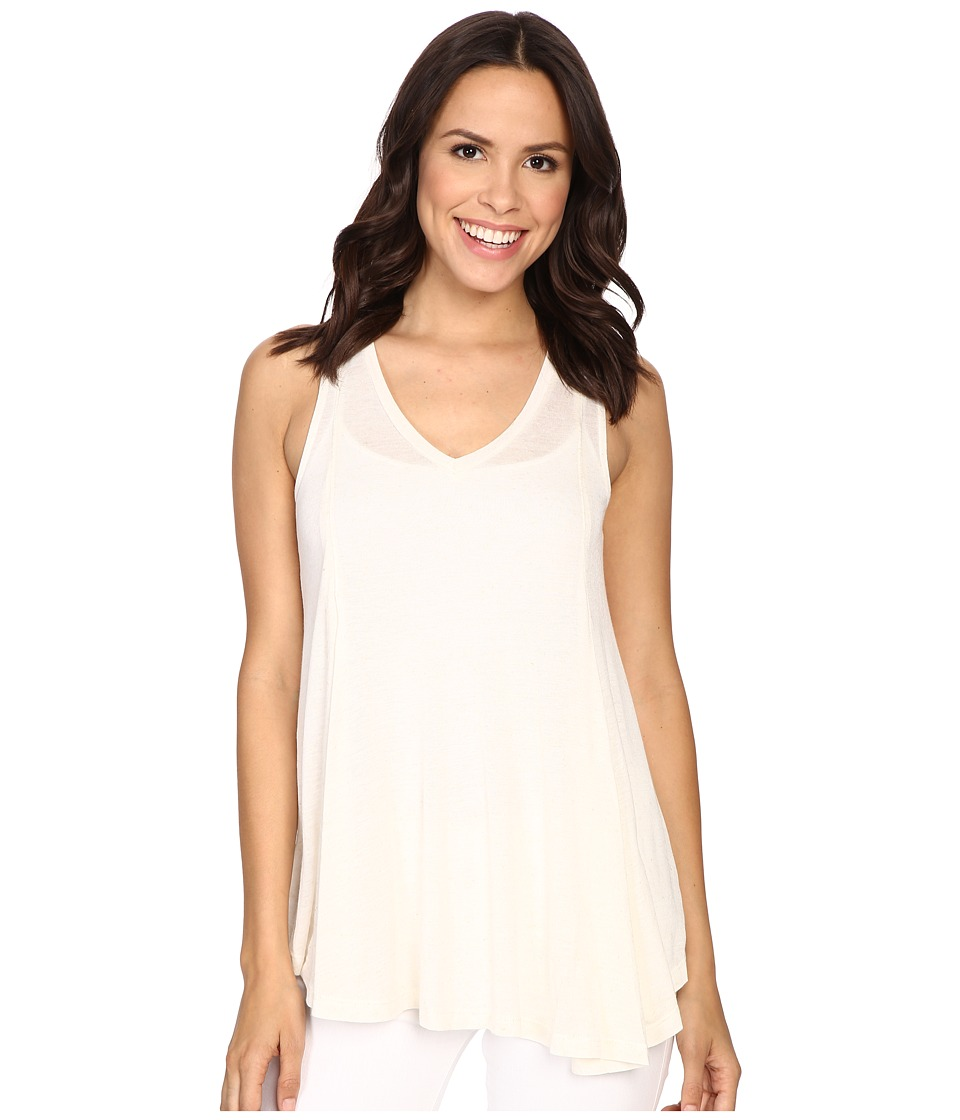 Bobeau Addilyn Voluminous V Neck Knit Tank Top Ivory Womens Sleeveless
