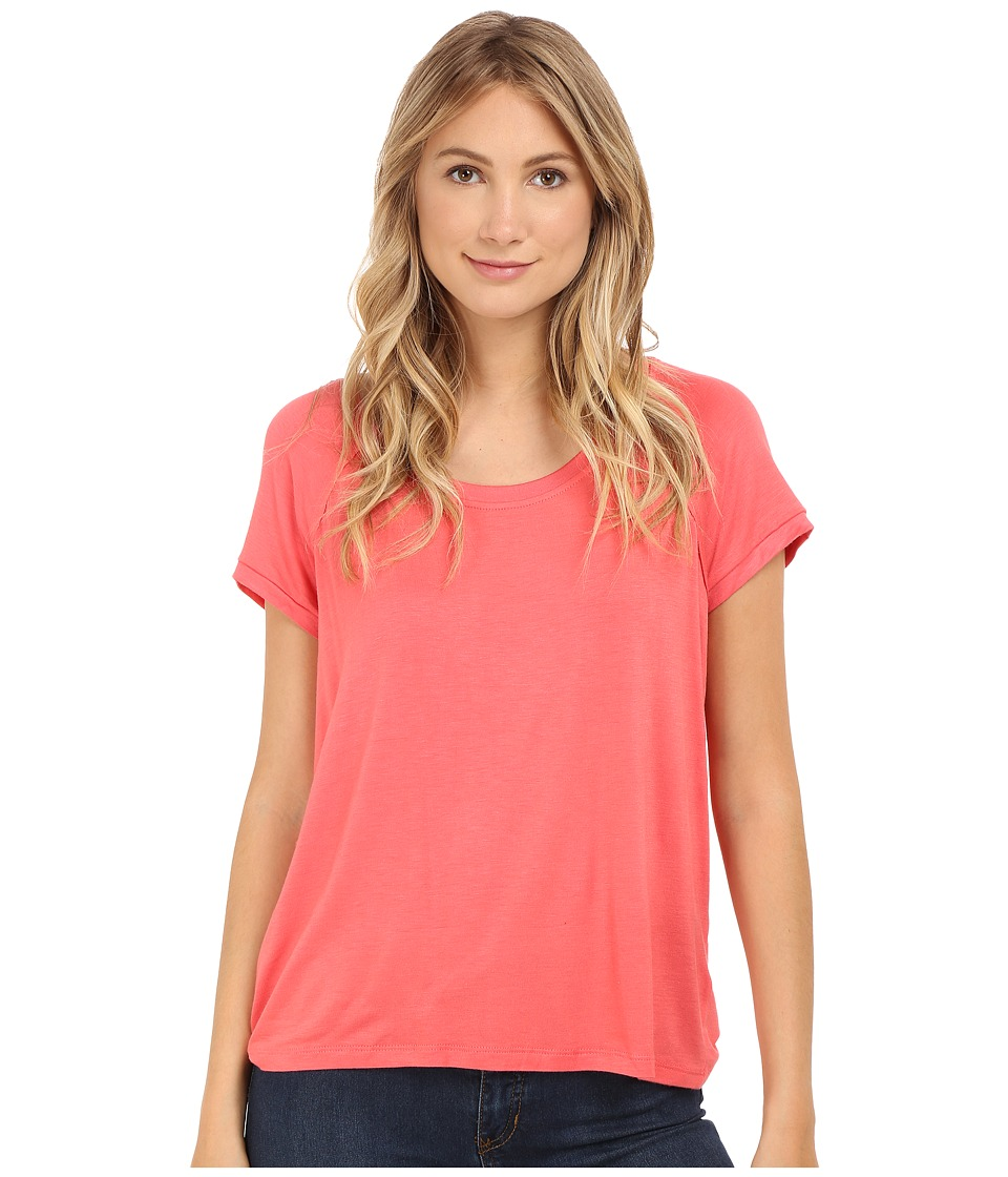 Bobeau Bailey Ragland Knit T Shirt Coral Womens T Shirt