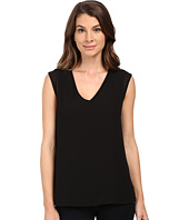 Bobeau - Renee V-Neck Chiffon Layer T-Shirt