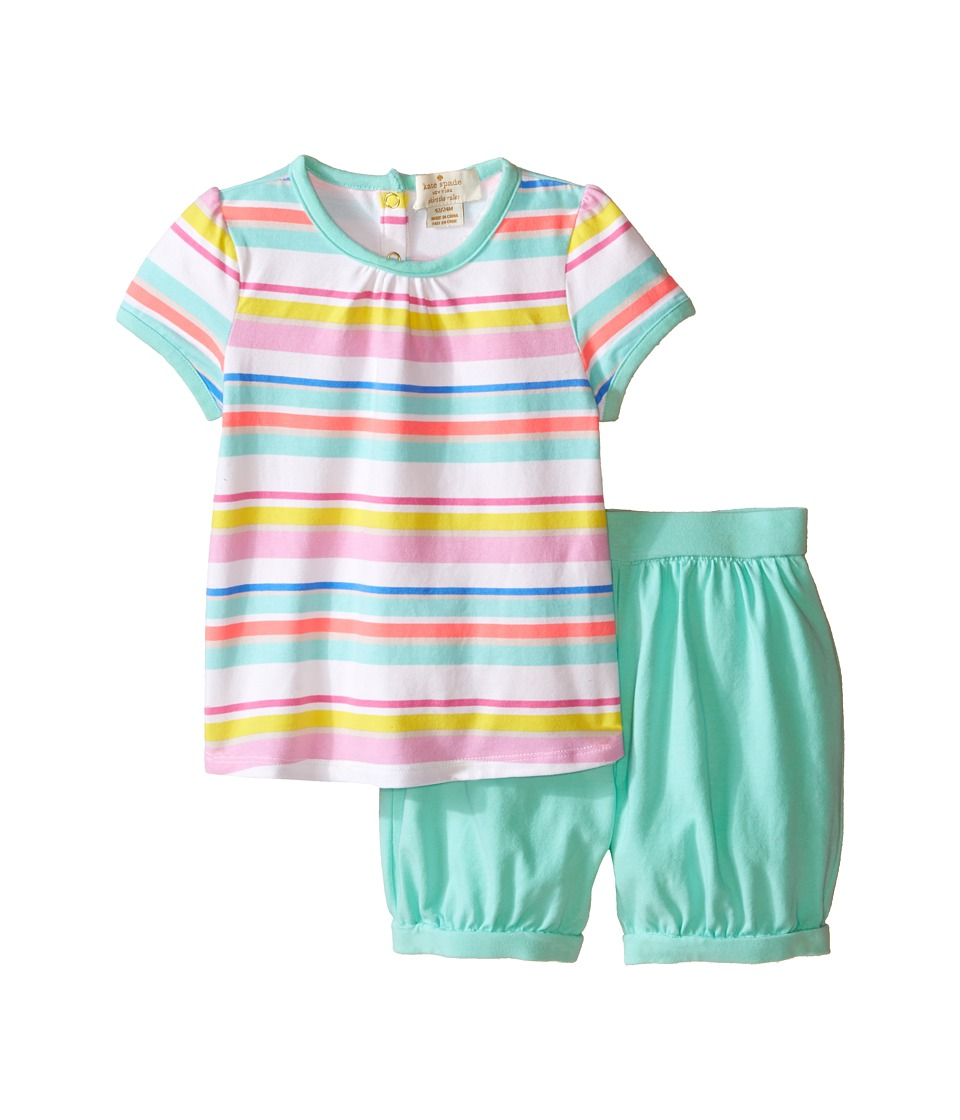Kate Spade New York Kids Cape Tee and Shorts Set Infant Cape Stripe/Fresh Mint Girls Active Sets