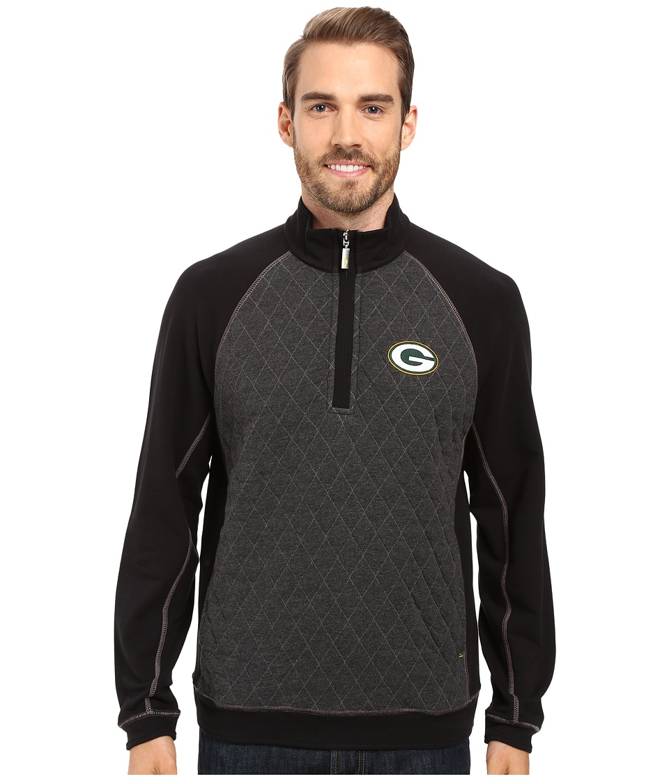 Tommy Bahama - Green Bay Packers NFL Gridiron 1/2 Zip Pullover (Packers Black) Mens Sweatshirt