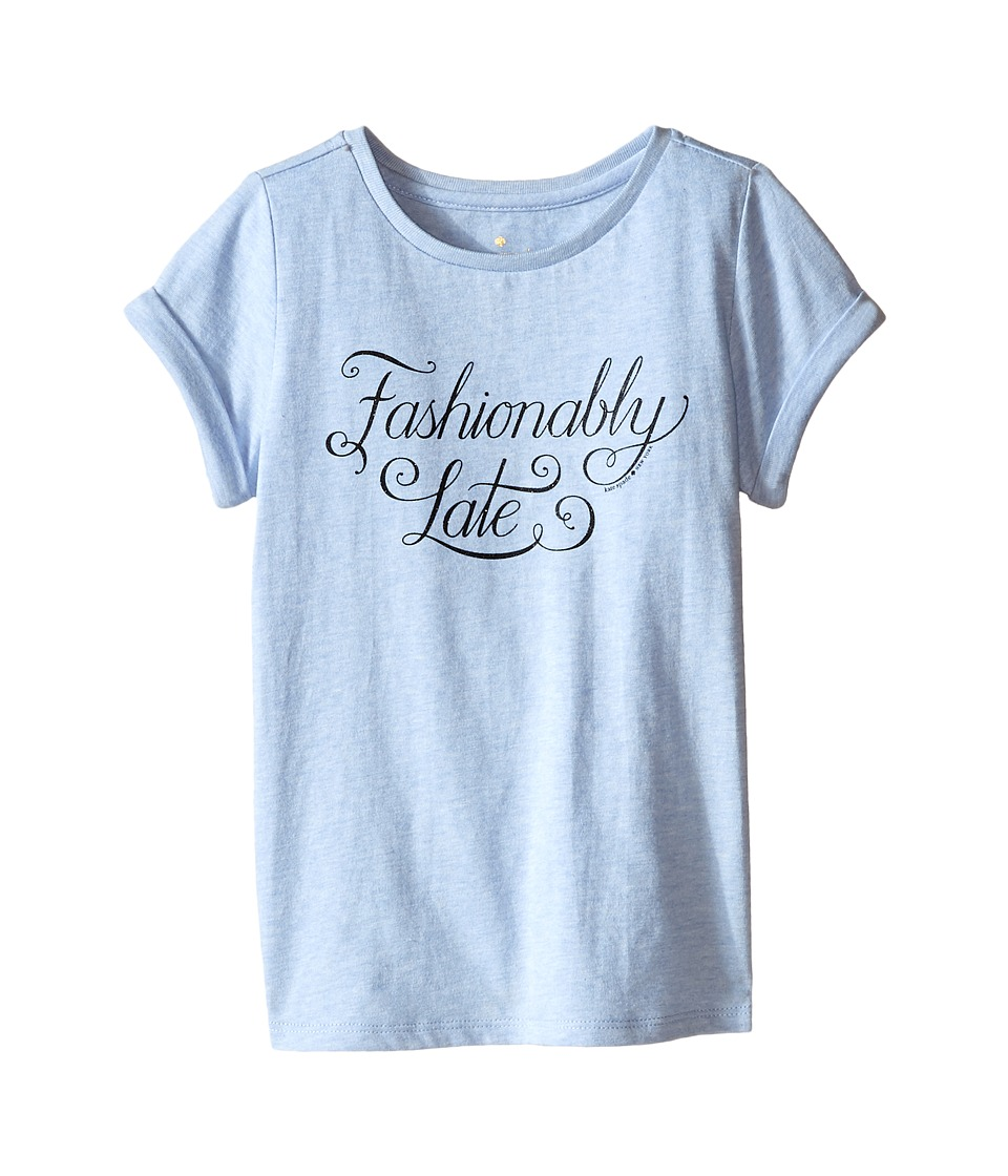 Kate Spade New York Kids Fashionably Late Tee Toddler/Little Kids Light Blue Heather Girls T Shirt