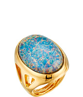 Kenneth Jay Lane - Polished Gold Open Side Blue Opal Cluster Ring