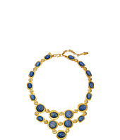 Kenneth Jay Lane - Satin Gold/Crystal/Blue Opal Cabs Bib Necklace