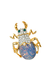 Kenneth Jay Lane - Gold/Crystal/Blue Opal Opal Body Green Eyed Beetle Pin