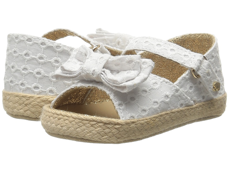 Kate Spade New York Kids Eyelet Bow Sandal Infant/Toddler Fresh White Girls Shoes