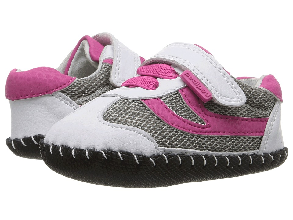 pediped Cliff Originals (Infant) (White/Fuchsia) Girl's Shoes