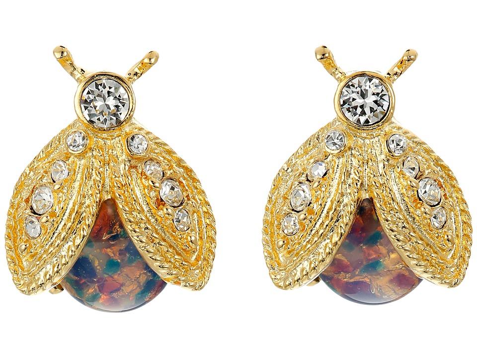 Kenneth Jay Lane - Polished Gold/Crystal/Pink Opal Bee Clip Earrings (Pink Opal) Earring