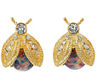 Polished Gold/Crystal/Pink Opal Bee Clip Earrings