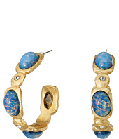 Kenneth Jay Lane - Satin Gold/Crystal/Blue Opal Hoop Post Earrings