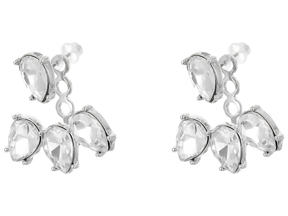 Kenneth Jay Lane - Silver/Crystal Teardrop Post Ear Jacket Earrings (Silver/Crystal) Earring