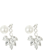 Kenneth Jay Lane - Pearl Top w/ Crystal Silver Drop Post Ear Jacket Earrings