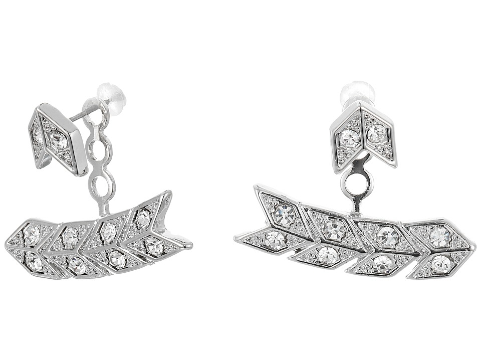 Kenneth Jay Lane - Silver/Crystal Chevron Post Ear Jacket Earrings (Silver/Crystal) Earring