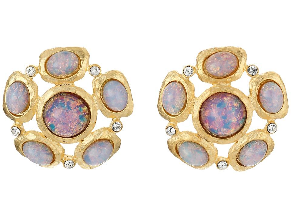 Kenneth Jay Lane Satin Gold/Crystal Pink Opal Cab Cluster Pierced Ear Earrings Pink Opal Earring