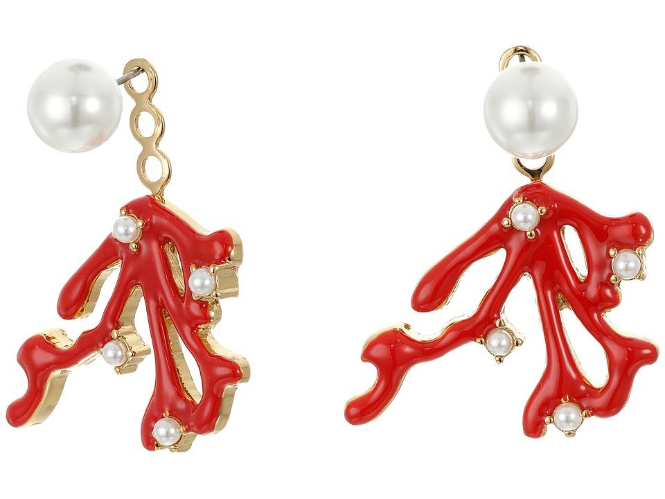 Kenneth Jay Lane - Pearl Top with Gold/Red Enamel/Pearl Branch Drop Ear Jacket Earrings (Gold/Red/Pearl) Earring