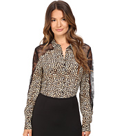 The Kooples - Wild Leo On Silk Crepe De Chine & Lace Blouse