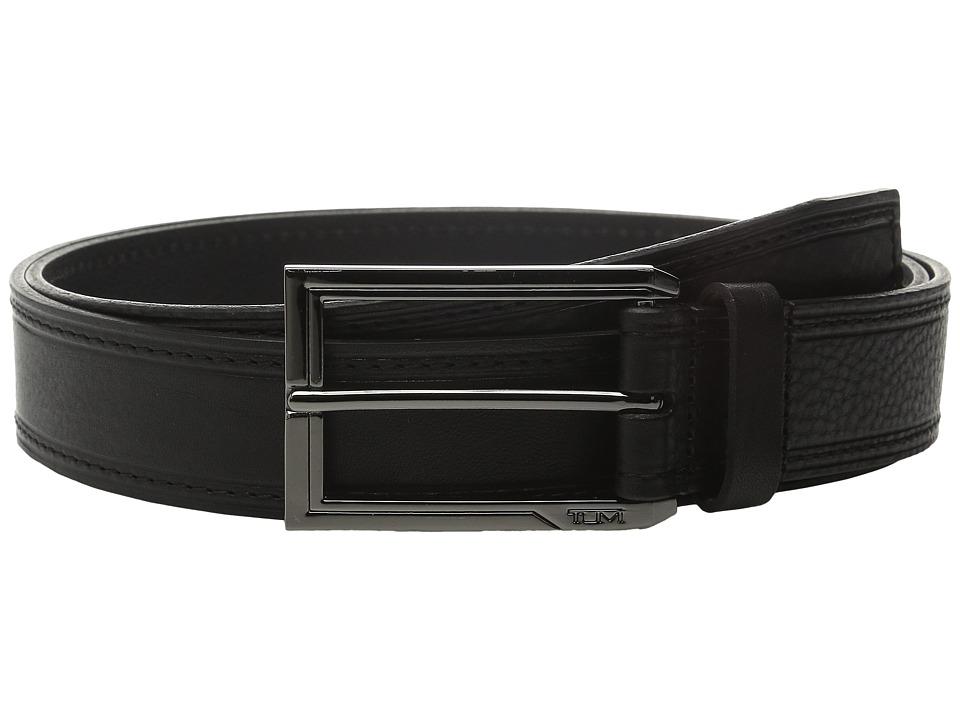 Tumi - Stitched Pebbled Belt (Gunmetal/Black) Men