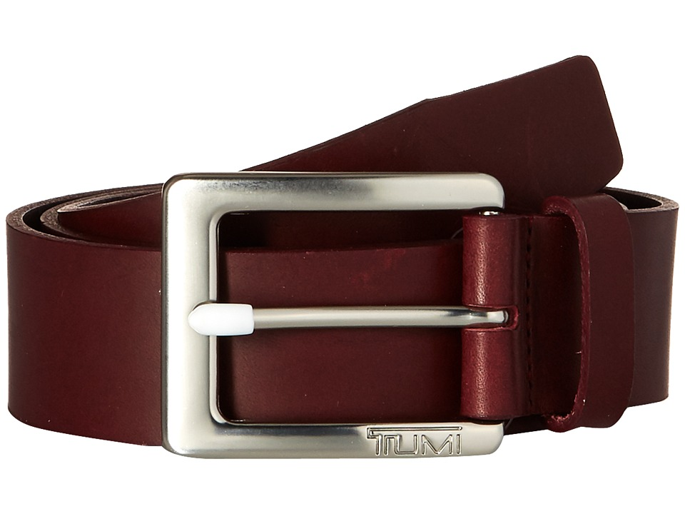Tumi Casual Leather Belt (Nickel Satin/Burgundy) Men