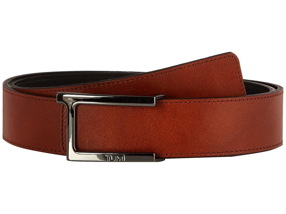 TUMI T Buckle Leather Reversible Belt (Gunmetal/Reversibl...