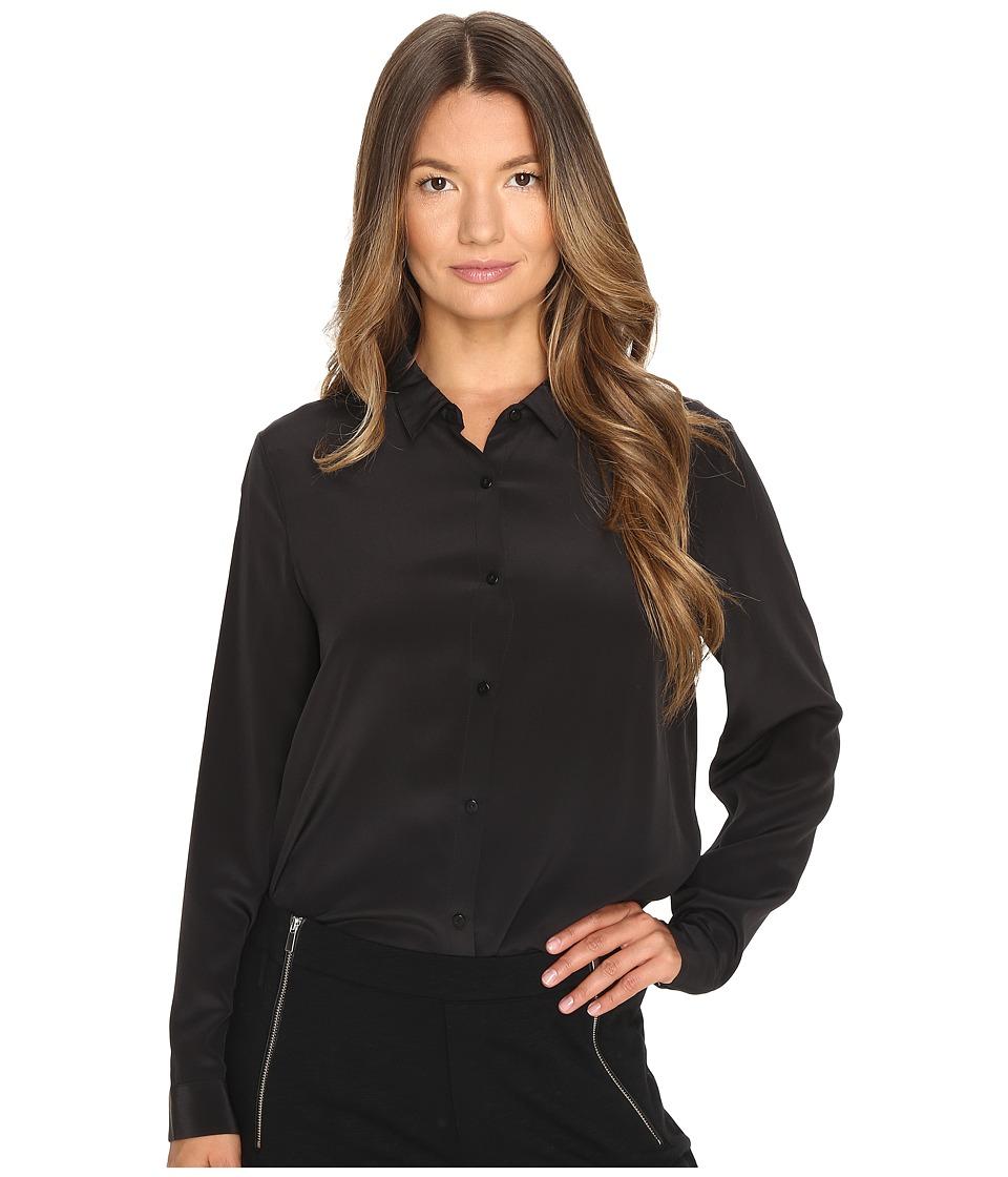 The Kooples - Boyfriend Shirt in Plain Silk (Black) Women...