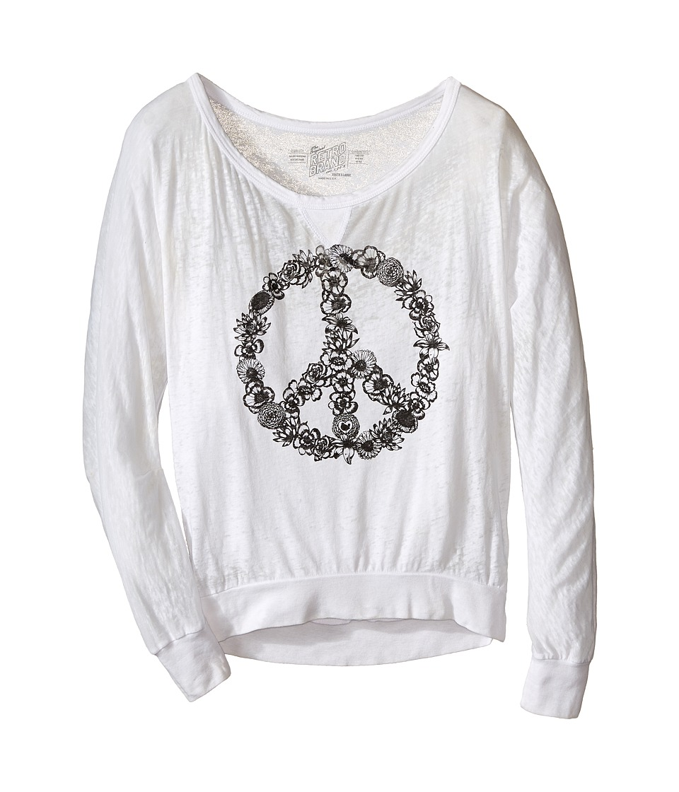 The Original Retro Brand Kids Burnout Pullover w/ Floral Peace Sign Little Kids/Big Kids White Girls Long Sleeve Pullover