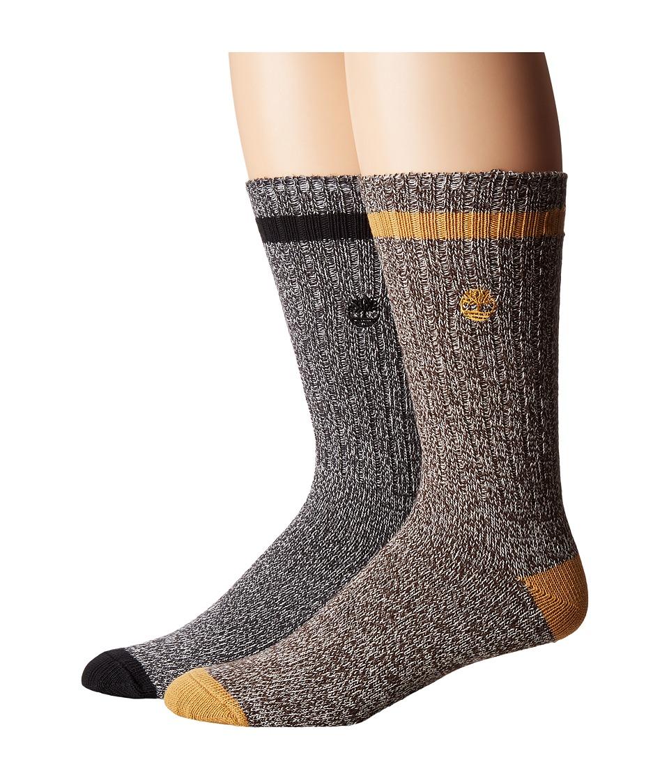 Timberland - Rugged Heritage 2-Pack Crew Socks (Grey/Mulch) Men's Crew Cut Socks Shoes